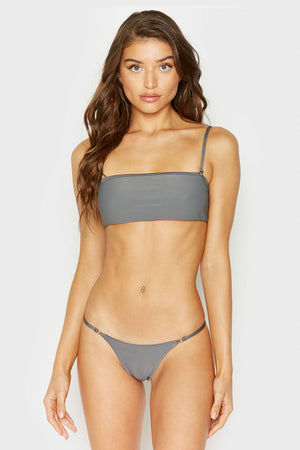 Frankies Bikinis Scarlett Caviar Ribbed Bandeau Style Top with Removable Thin Straps