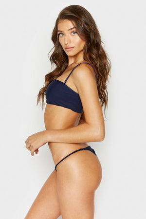 Frankies Bikinis Scarlett Navy Ribbed Bandeau Style Top with Removable Thin Straps