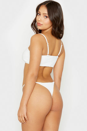 Frankies Bikinis Scarlett White Ribbed Bandeau Style Top with Removable Thin Straps
