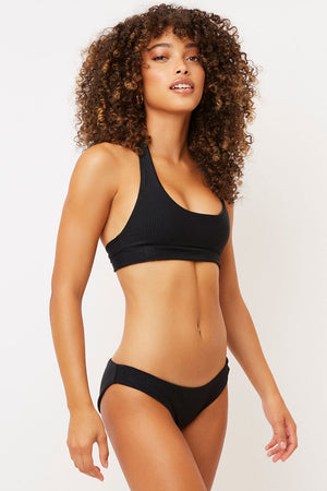 Frankies Bikinis Shea Black Ribbed Classic Coverage Bottom