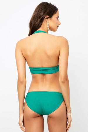 Frankies Bikinis Shea Emerald Ribbed Classic Coverage Bottom