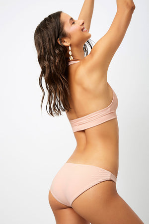 Frankies Bikinis Shea Peach Ribbed Classic Coverage Bottom