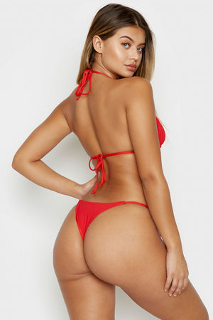 Frankies Bikinis Sky Red Ribbed Skimpy Side String Tie Bottom