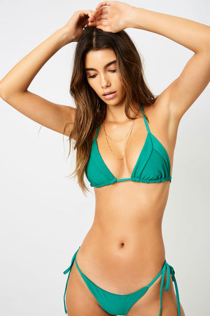 Frankies Bikinis Sky Emerald Ribbed Skimpy Side String Tie Bottom