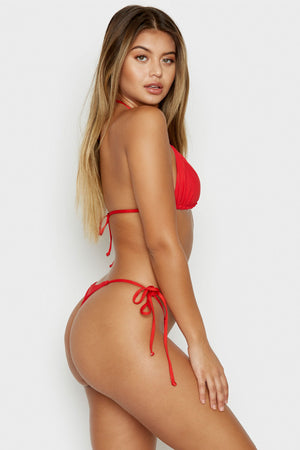 Frankies Bikinis Sky Red Ribbed Triangle Top with Ultra Thin String Tie Straps