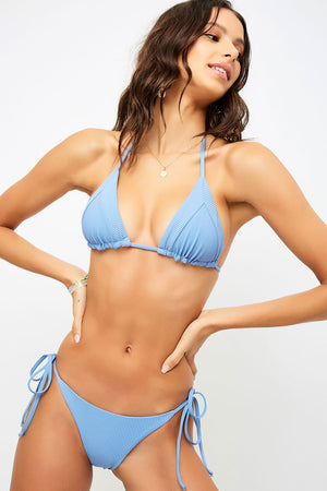 Frankies Bikinis Sky Blue Jean Ribbed Triangle String Top