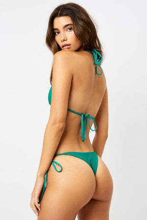 Frankies Bikinis Sky Emerald Ribbed Triangle String Top