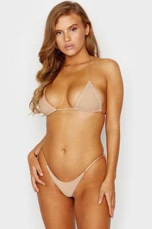 Frankies Bikinis Sky Nude Ribbed Skimpy Side String Tie Bottom