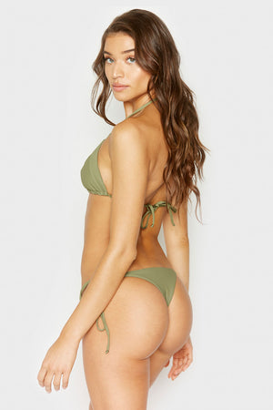 Frankies Bikinis Sky Olive Ribbed Triangle Top with Ultra Thin String Tie Straps