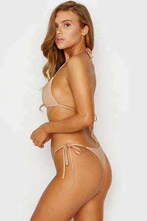 Frankies Bikinis Sky Nude Ribbed Triangle Top with Ultra Thin String Tie Straps