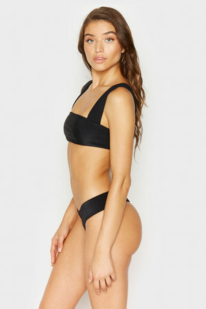 Frankies Bikinis Sofia Black Thick Strap Skimpy Ribbed Bottom