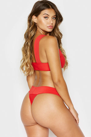 Frankies Bikinis Sofia Red Thick Strap Bandeau Ribbed Top