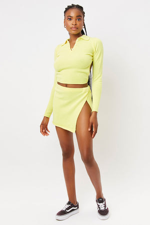 stacey citronella yellow cashmere slit skirt