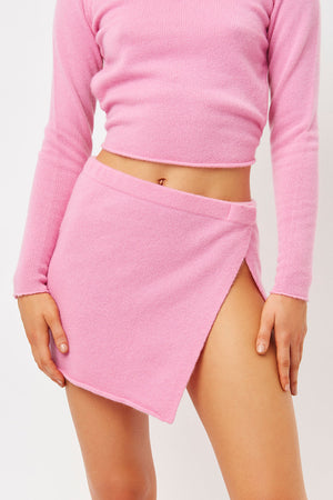stacey rose pink cashmere slit skirt