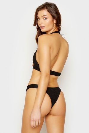 Frankies Bikinis Black Starry High Leg Skimpy Bottom