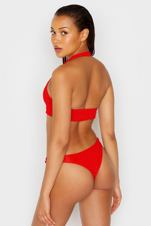 Frankies Bikinis Starry Red Scrunch High Leg Skimpy Bottom