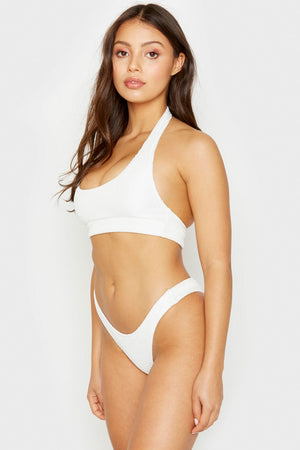 Frankies Bikinis White Starry High Leg Skimpy Bottom