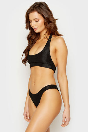 Frankies Bikinis Black Starry Halter Top