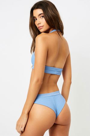 Frankies Bikinis Stevie Blue Jean High Leg Ribbed Bottom