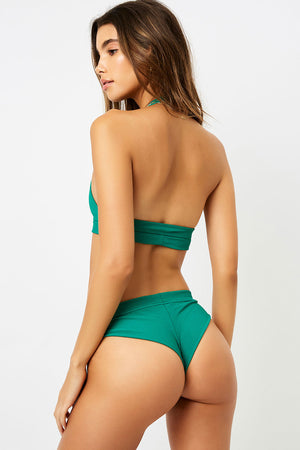Frankies Bikinis Stevie Emerald High Leg Ribbed Bottom