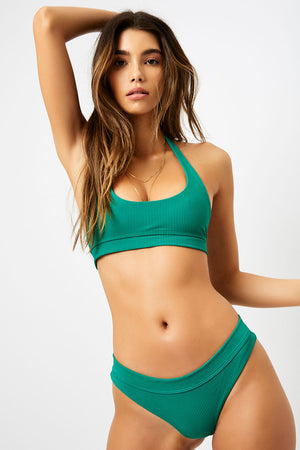 Frankies Bikinis Stevie Emerald Ribbed Halter Top