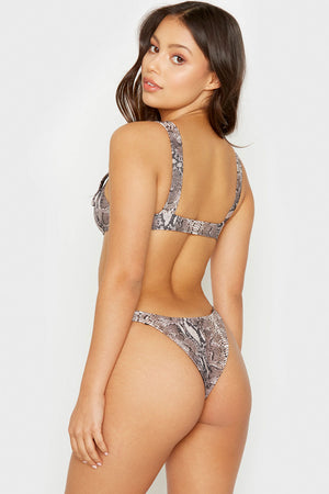 Frankies Bikinis Snakeprint Stormy Cheeky Bottom