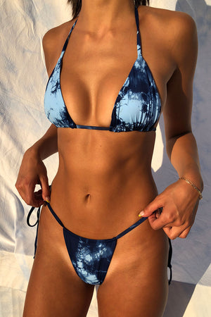 Frankies Bikinis Tasha Blue Tie Dye String Triangle Top