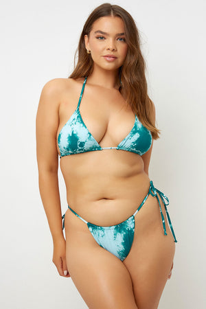 Frankies Bikinis Tasha Emerald Tie Dye Triangle Top Extended Sizing