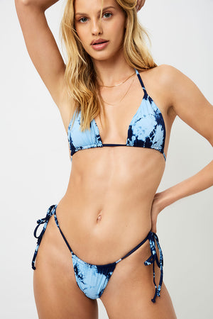 Frankies Bikinis Tasha Blue Tie Dye String Skimpy Bottom