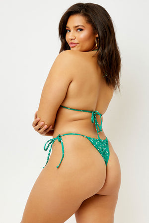 Frankies Bikinis Tavi Skimpy Floral Tie Side Bottom Green Ditsy