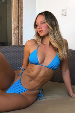 Frankies Bikinis Tia Azure Triangle Ribbed Top