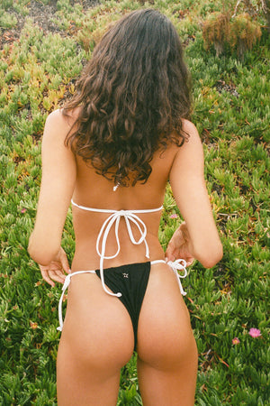 Frankies Bikinis Tia Black Skimpy String Bottom