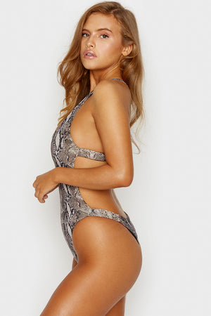 Frankies Bikinis Snakeprint Venom One Piece with Cheeky Coverage