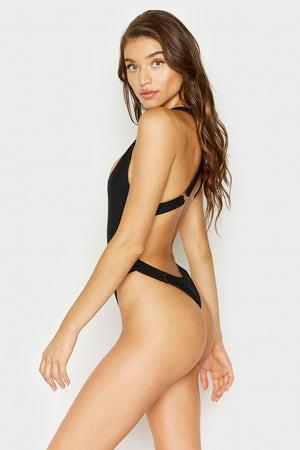 Frankies Bikinis Black Viv Strappy Ribbed Cheeky One Piece