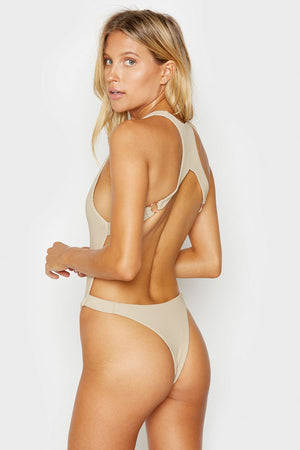 Frankies Bikinis Latte Viv Strappy Ribbed Cheeky One Piece