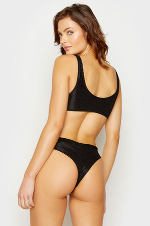 Frankies Bikinis Black Wilderness Cheeky Bottom