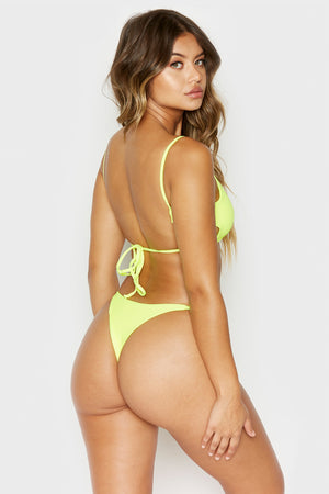 Frankies Bikinis Willa Lemon Drop Yellow Ribbed Peek-a-boo Cutout Top with Braided Adjustable Ties
