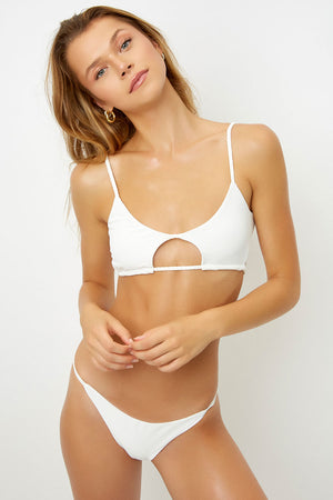 Frankies Bikinis Willa White Ribbed Skimpy Seamless Bottom