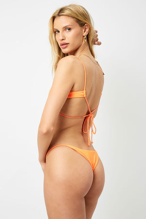 Frankies Bikinis Willa Tangerine Peek a Boo Top