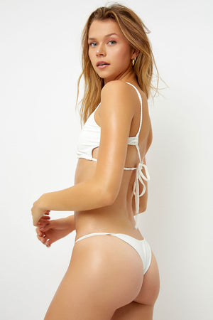 Frankies Bikinis Willa White Ribbed Peek-a-boo Cutout Top with Braided Adjustable Ties