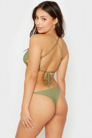 Frankies Bikinis Willa Olive Ribbed Peek-a-boo Cutout Top with Braided Adjustable Ties