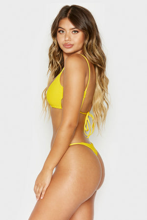 Frankies Bikinis Willa Amber Ribbed Peek-a-boo Cutout Top with Braided Adjustable Ties