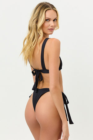 Willow Ruched Black Bikini Top with Cut Out