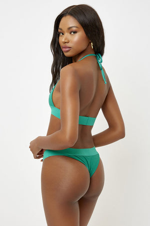 Frankies Bikinis Winnie Emerald Ribbed Skimpy Bottom