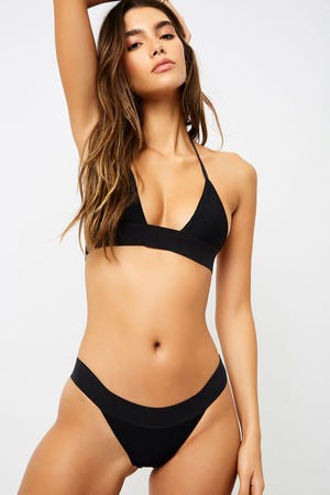 Frankies Bikinis Winnie Black Triangle Style Ribbed Top