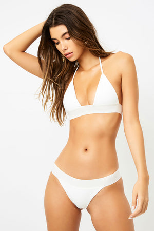Frankies Bikinis Winnie White Triangle Style Ribbed Top