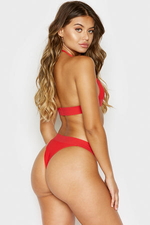 Frankies Bikinis Winnie Red Ribbed Skimpy Bottom