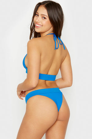 Frankies Bikinis Winnie Cobalt Triangle Style Ribbed Top