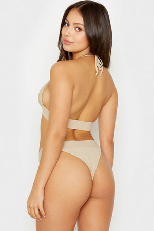 Frankies Bikinis Winnie Latte Triangle Style Ribbed Top