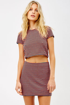 Windward Sunset Stripe Terry Mini Skirt